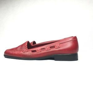 Womens Vintage Eldon Ruby Red Slip On Loafers